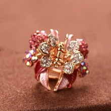 High Quality Luxury Painting Hairpins Trendy Hair Clip Shiny Rhinestone Crab Hair Claws For Women Girl(China)