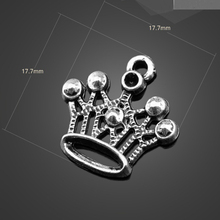 10pcs High quality Wholesale Alloy Antique Silver King Queen Crown Charms For Necklace Jewelry Accessories Charm 17.7mm
