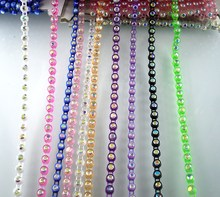 SS12 B Grade AB crystal glass stone 3mm rhinestones plastic cup clothes shoes hat bag wedding decorations banding chain 10Yards