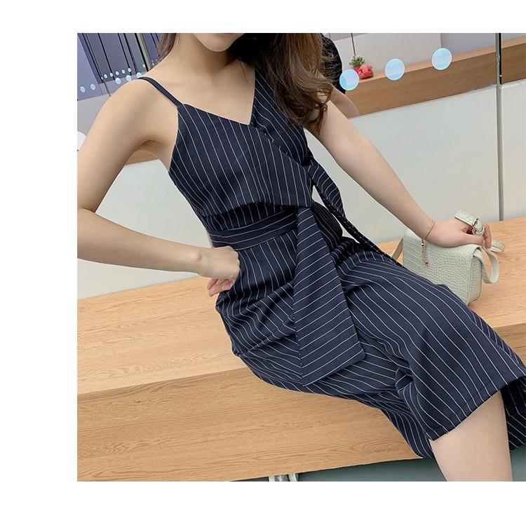 Sling Off Shoulder Sleeveless Striped Jumpsuit 2019 New Fashion V-Neck High Waist Nine Points Wide Leg Jumpsuit Summer 26 Online shopping Bangladesh