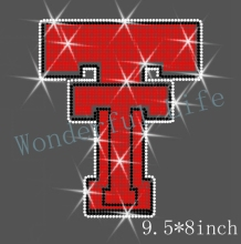 Free shipping  hot fix rhinestones Iron on heat transfer  Sport Logo Sign TT Rhinestone design white with red with black