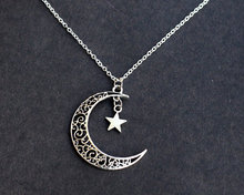 retro hot sale silver hollow out moon star couple lover pendant necklace jewelry for men and women