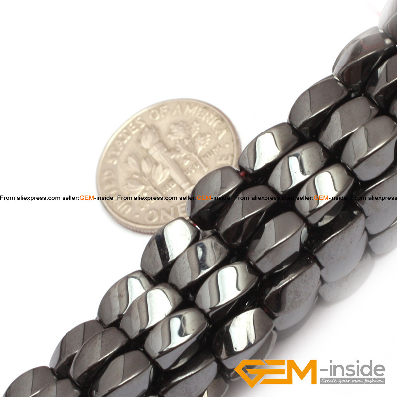 8x16 MM Twisted Black Magnetic Hematite Stone Craft Jewelry Beads 16 inch
