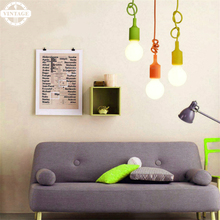 DIY Colorful Pendant Lights E27 Edison Bulbs Multi-color 4-12 Arms Fabric Cable Holder Lamps Home Decoration Lighting(China)