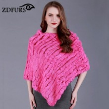 ZDFURS * Winter Ladies' Genuine 100% Real Knitted Rabbit Fur Poncho Women Fur Pashmina Wrap Female Party Pullover ZDKR-165001