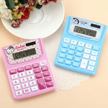 Cute Pink Hello Kitty Doraemon Desktop Solar Dual Power Small Calculator 12 Digital Kawaii Calculator for Office Students Gift(China)