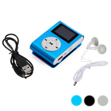 Beautiful Gift 100% New 2016 Shiny Mini USB Clip LCD Screen MP3 Media Player Support 16GB Micro SD With Cable And Earphone