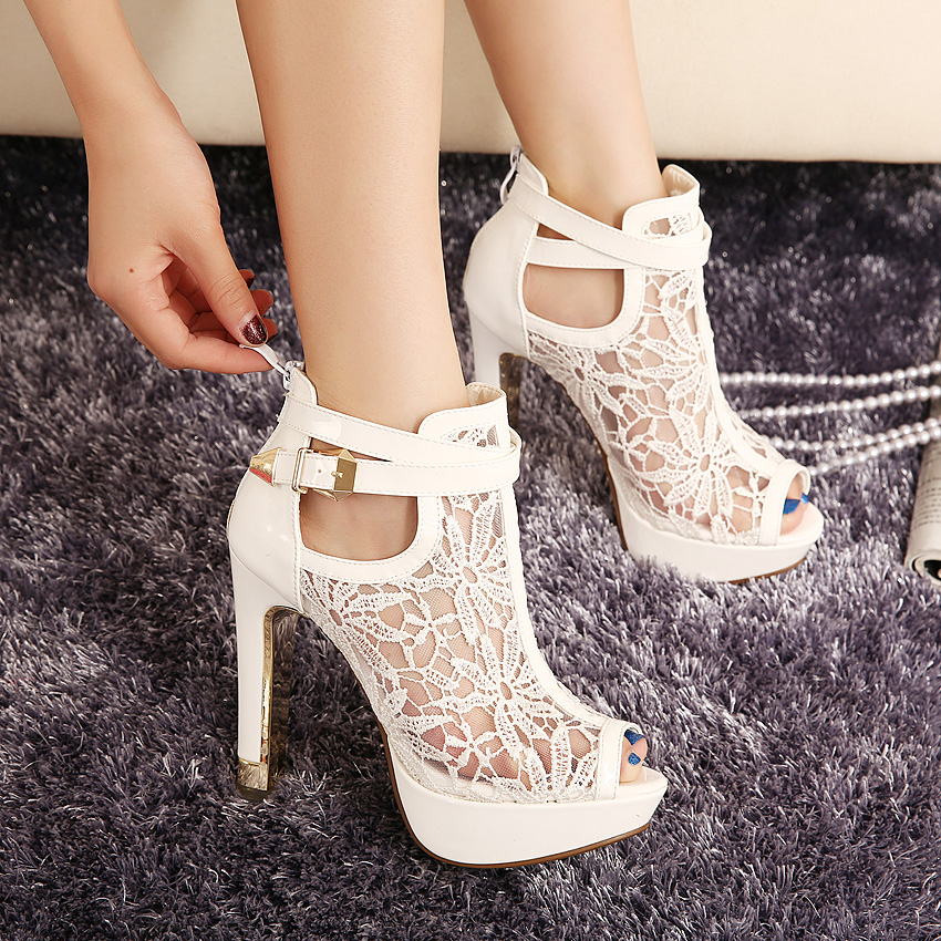 2015 New Lace Women Platform Pumps Sandals White Mesh Black High Heels Peep Toe Shoes zapatos mujer Drop Shipping<br>