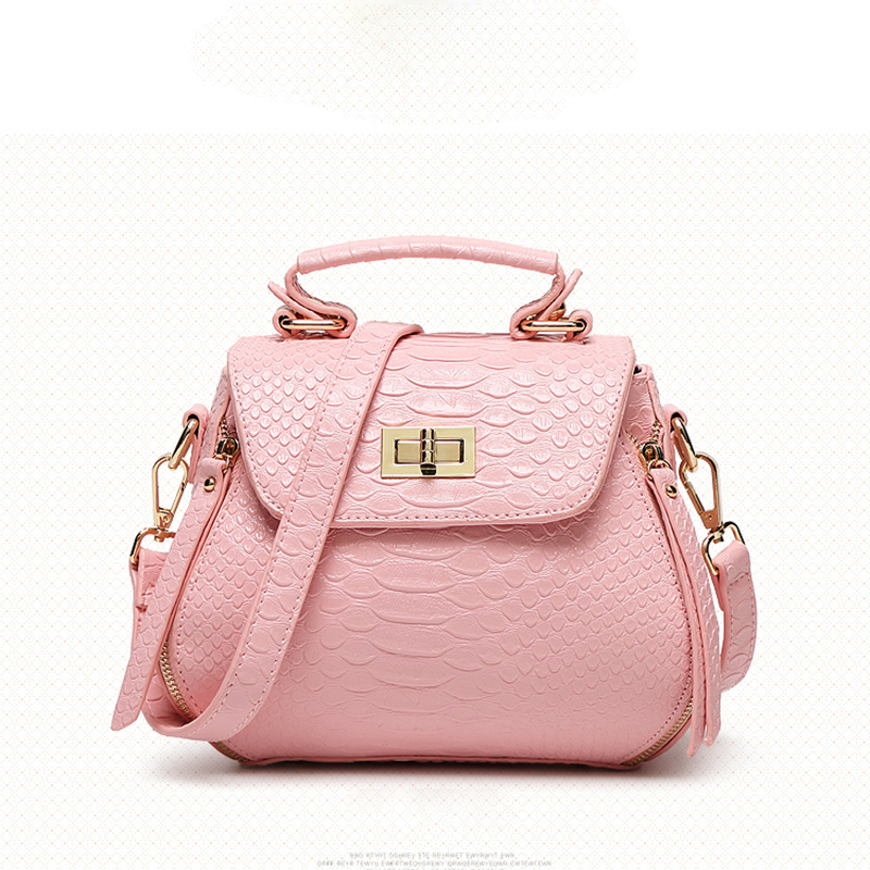 2016 New Pink Alligator PU Leathe Shell Women Handbag Fashion Brand Designer Shoulder Bag Female High Quality Messenger Bolsas<br>