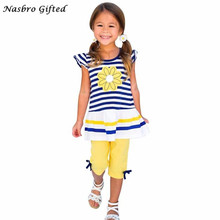 100% Brand New And High Quality Kids Girls Daisy Flower Stripe Shirt Top Bow Pant Set Clothing F17