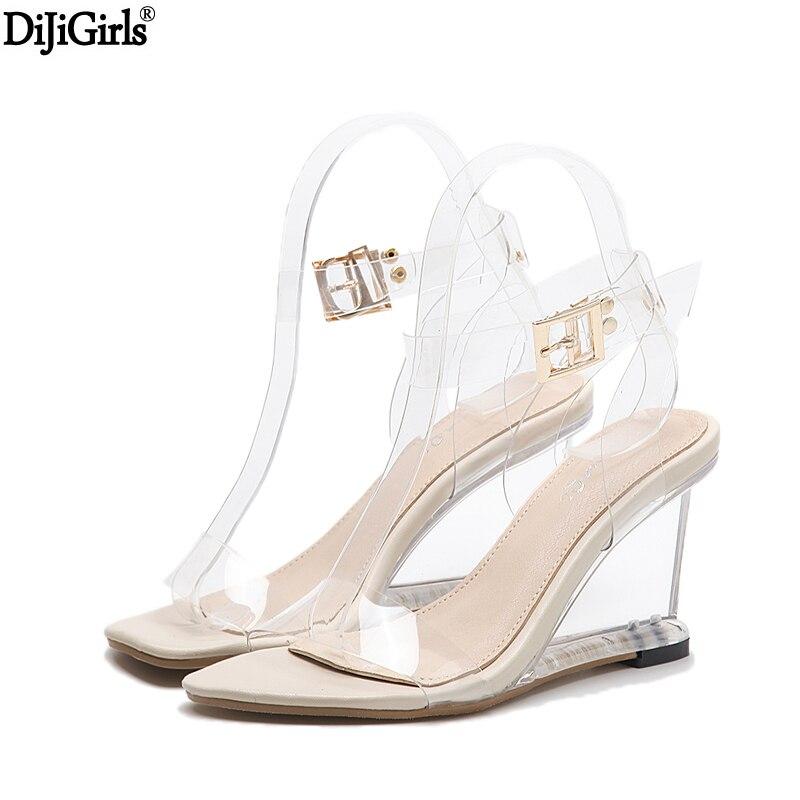 Crystal Shoes Women Fashion Ankle Strap High Heel Sandals Transparent Wedges Heel Sandals 2017 Summer Gladiator Sandals Women<br>
