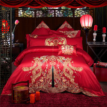 2018 New Red Jacquard bedding sets 9 pieces king size duvet cover set Egyptian Cotton bed sets luxury wedding bedlinen(China)