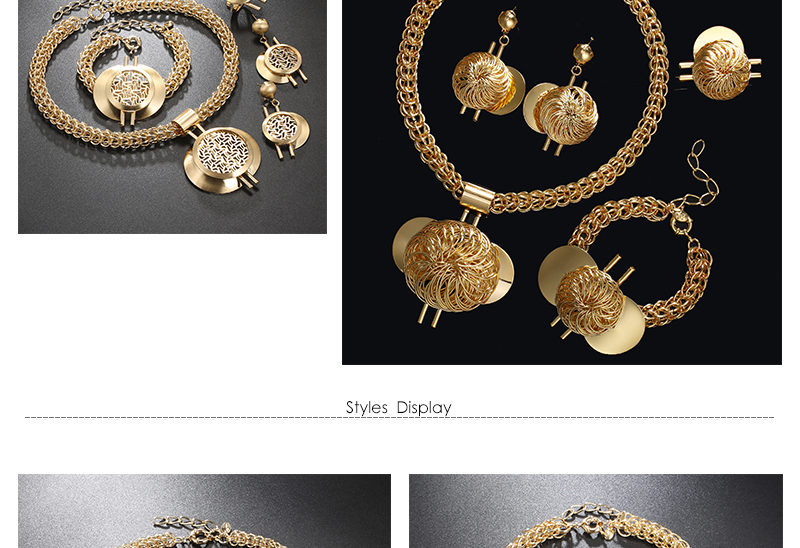 CWEEL Jewelry Sets Fashion Bridal Turkish Jewelry Vintage Antique Big African Jewellery Gold Color Women Indian Jewelry Set (4)