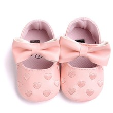 Hot! 15 Colors baby girl shoes New 2017 Baby Girl Bowknot Leater Shoes Sneaker Anti-slip Soft Sole kids first walkers nice LD(China)