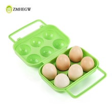 Hot Sale Kitchen Storage Cases Portable 6 Eggs Plastic Container Holder Folding Egg Storage Box Handle Case Package For Egg(China)