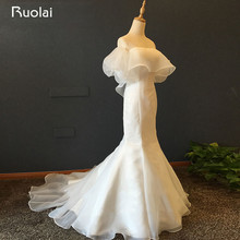 Simple Vestido De Noiva Elegant Bride Gown Puff Sleeve Chiffon Long Mermaid Wedding Dress Lace Up Back  ASAF07