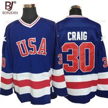 BONJEAN USA Team Ice Hockey Jersey 1980 Miracle On Ice Team USA 30# Jim Craig Stitched Winter Sport Wear Blue