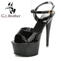 G.L.Brother Patent Leather Stripper Shoes Sexy Pole Dancing Heels Black Fashion Platform Sandals High Heels Sandals Women 2017