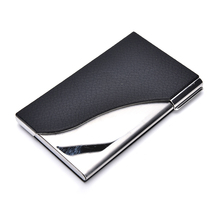 1PCS High Quality Black PU Leather&Stainless Steel Business Name Card Case Holder Creative Gift(China)