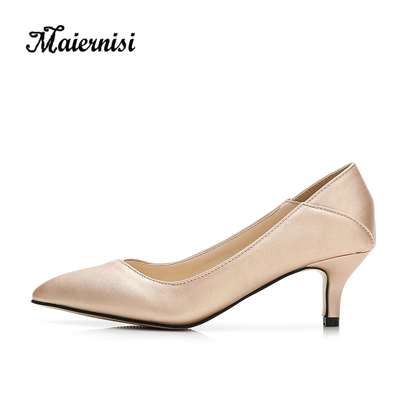 MAIERNISI Pointed Toe Women Pumps Leather Office&career Women Shoes Thin Heels Stilettos Big Size 36-45 Daily Shoes Lady basic pump