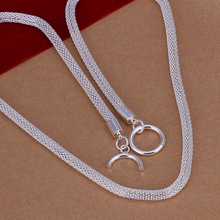 Women's fashion jewelry 20 inch 4mm chain 925 stamped silver plated charm Mesh necklace gift pouches free shipping(China)