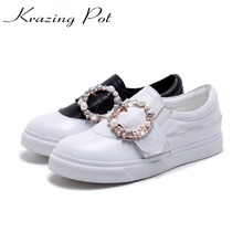 Krazing Pot genuine leather classics women platform slip on sneaker increased casual round crystal buckle vulcanized shoes L28(China)