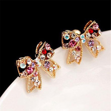 Hot 1Pair Trendy Women Colorful Rhinestone Charming Golden Bowknot Earrings Chic Ear Studs Jewelry Gift
