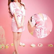 Buy Sexy Women Sleepwear Satin Lace Soft Nightgown Lingerie Nightdress Sleepwear Robe Pink night suits satin robe sexual gift