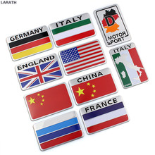 100pcs Australia Russia France England Italy Germany United States Aluminum Flag Car Styling Stickers Decoration Car Accessory