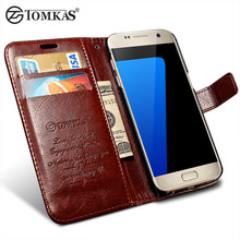 Flip Leather Case For Samsung Galaxy S7 G9300 Wallet Phone Bag Cover For Samsung Galaxy S7 Edge Cases With Card Holders TOMKAS(China)