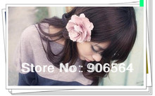 "Free shipping 15 color assorted 3.2""satin silk flowerwith hairclip/Great hair accessories/brooches DIYC012"