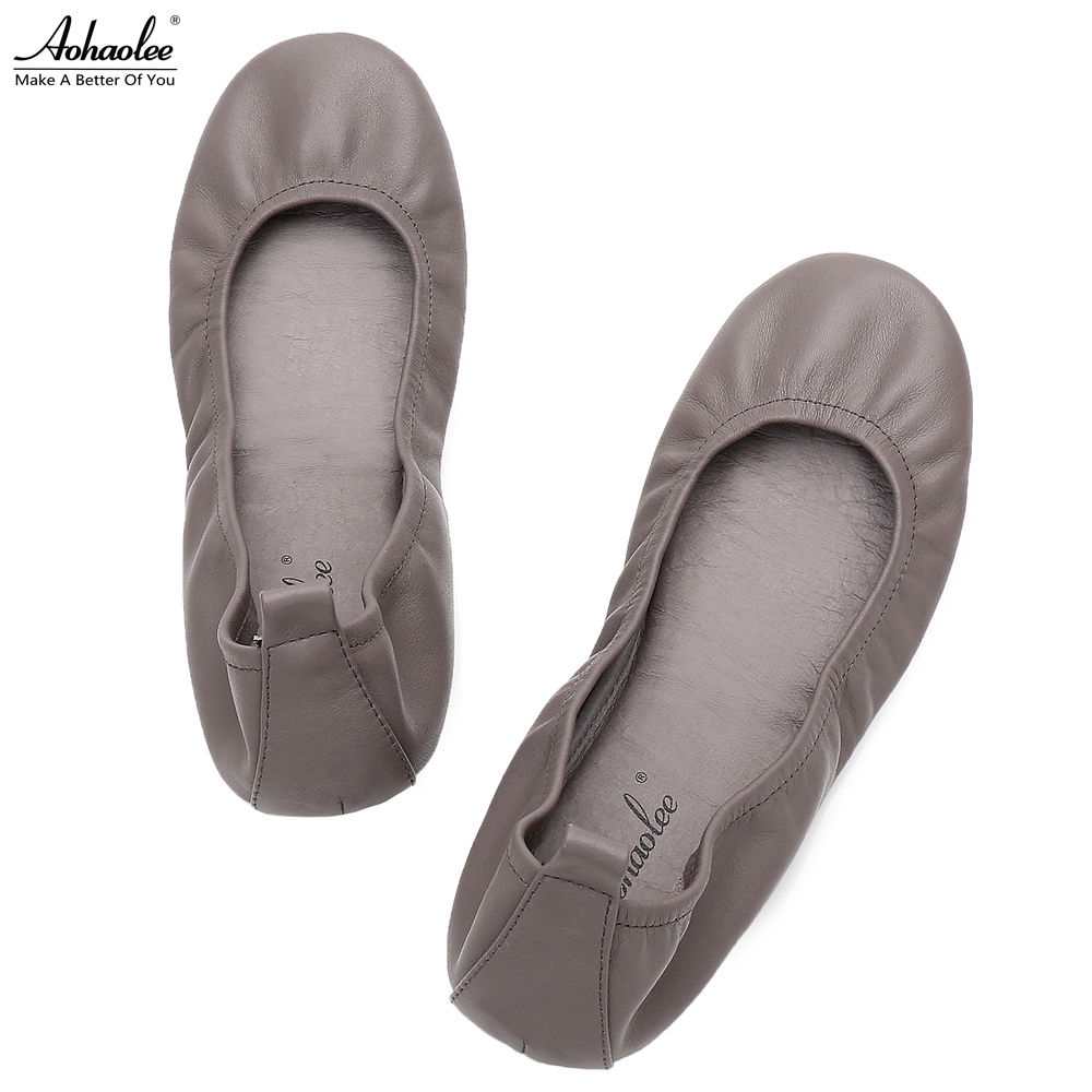 Aohaolee Plus Size Fashion Women Shoes Leather Ballerina Ballet Flats Foldable Shoes Portable Travel Flats Rollable Dance Shoes <br>