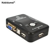 Kebidumei 1Set USB 2.0 2 Port KVM Switches Splitter for Monitor Video+ 2 VGA 15Pin SVGA Cable for Windows Unix Linux Mac OS(China)
