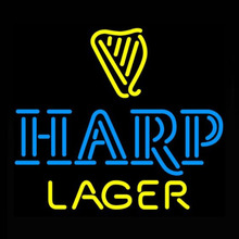 Neon Sign Real Glass Tube Harp Lager Bar Sign Neon Bulbs Restaurant Display Beer pUB Arcade signs handcraft Advertise Lamp 24X24(China)