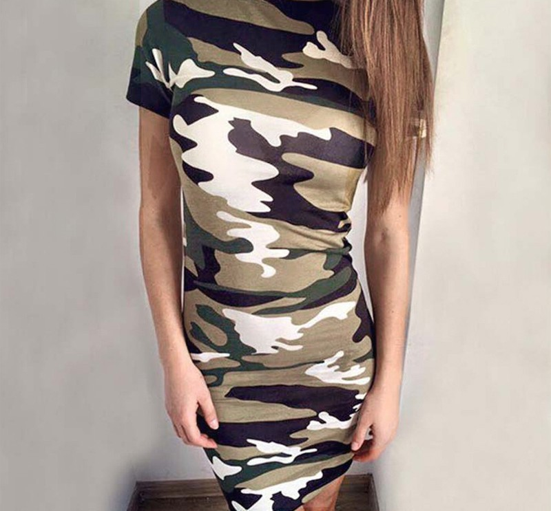 19 New Summer Fashion Women Sexy Tank Dress Slim Casual Camouflage Military O-Neck Print Splice Empire Mini Dresses Vestidos 32