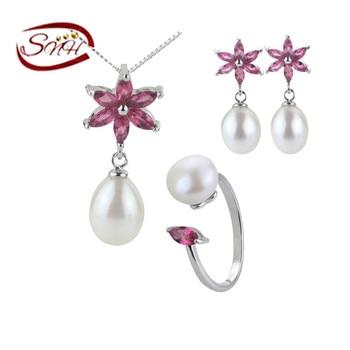 SNH 100% реального серебра 925 genuine pearl комплекты ювелирных изделий, новый тип пресноводного жемчуга набор для девочки