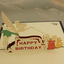 (10 piece/lot)Manufacturers Direct Sale 3D Handmade Pop Up Magic Fairy Happy Birthday Greeting Card Paper-cut Carved Gift Card