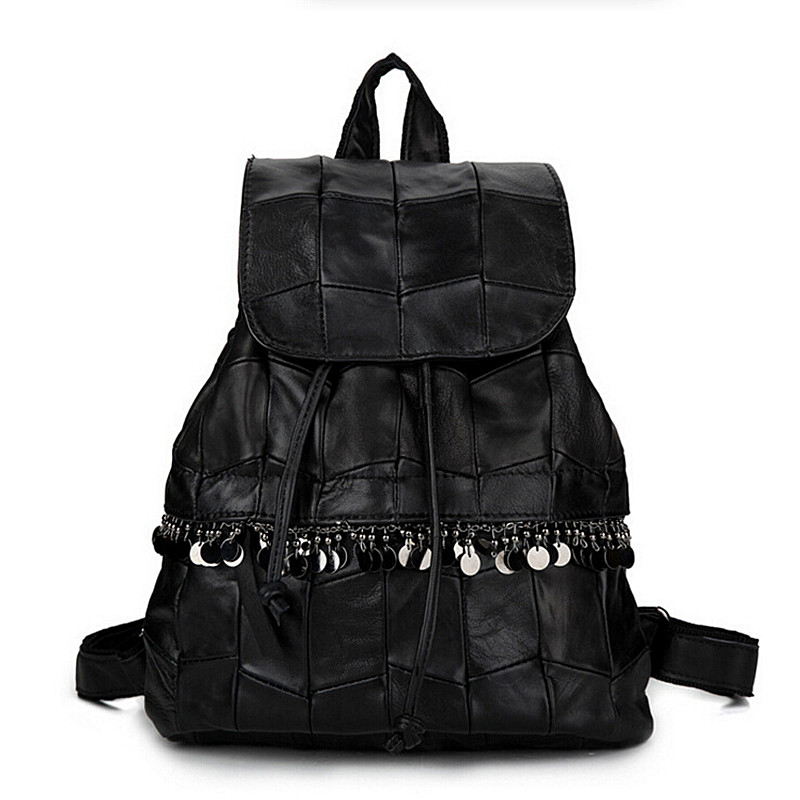 Genuine Fashion Women Black Sheepskin Leather Patchwork Backpacks Female Casual Travel Bags Vintage School Bag for College Girls<br><br>Aliexpress