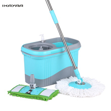 iKayaa UK Stock Press Type Stainless Steel Rolling Magic Spin Mop & Bucket Set Rotating Floor Mop W/ 2 Mop Heads Cleaning Tools