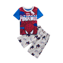 Children Boy Cartoon Spider man Clothing set Summer Short Pullover Pants two Pieces Cotton Red Navy Age 2 3 4 5 6 7 Years Old(China)