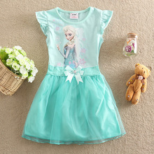 Free Shipping 2016 children elsa casual dress girls summer fashion elsa anna dress baby girls dress Children's Cloting