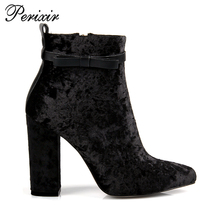 Perixir 2017 New Fashion Style Pleuche Chunk Heel Add Short Plush Non-Silp Rubber Sole for Women(China)