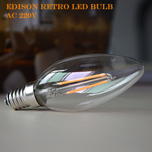 E14 E12 Filament Bulb Real power 2W 4W 6W AC220V 230V 110V 127V Dimmer Lamp Edison Glass Candle Lighting Chandelier