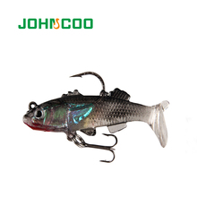 JOHNCOO NEW 3pc Soft Lead Fishing Lure 5.5cm 7.7g Artificial Bait Silicone Lures Sea Bass Carp Fishing Jig Lure Wobblers(China)