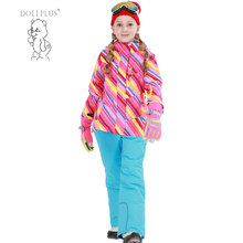 Dollplus 2017 Winter Children's Warm Coat Sporty Ski Suit Boy Girl Jacket Windproof Waterproof Outdoor Sports Suit For 6-16T(China)