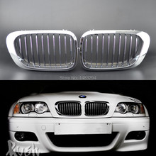 Chrome Front Kidney Grill Grilles Fits For BMW E46 2 Door 2D 3 Series M3 98-01 Coupe New