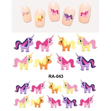 UPRETTEGO NAIL ART BEAUTY WATER DECAL SLIDER NAIL STICKER CARTOON FLYING HORSE UNIHORN UNICORN PONY RA043-048(China)