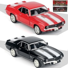 Boxed five-inch alloy Sports car model Chevrolet Camaro SS metallic material Open the door Pull Back kids toys