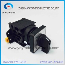 Cam switch 3 pole manual switch industrial DIN rail YMW42-20/3 black 3 poles 20A 12 terminal rotary universal switch