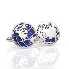 1 Pair High Quality World Map Silver Men Cufflinks Fashion Classic Male French Shirts Cuff Botton Novelty Blue Enamel Cufflink